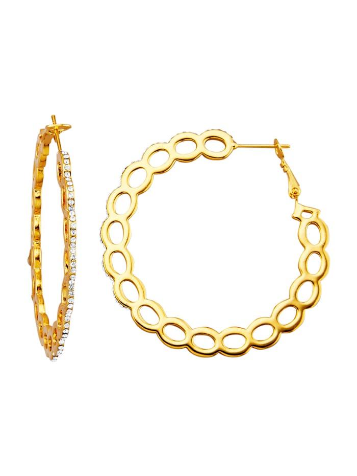 Golden Style Creolen mit weißen Kristallen, Gelbgoldfarben