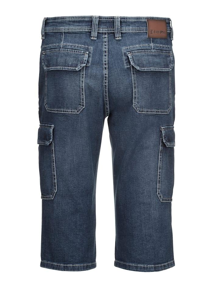 Bermuda long en jean avec poches cargo