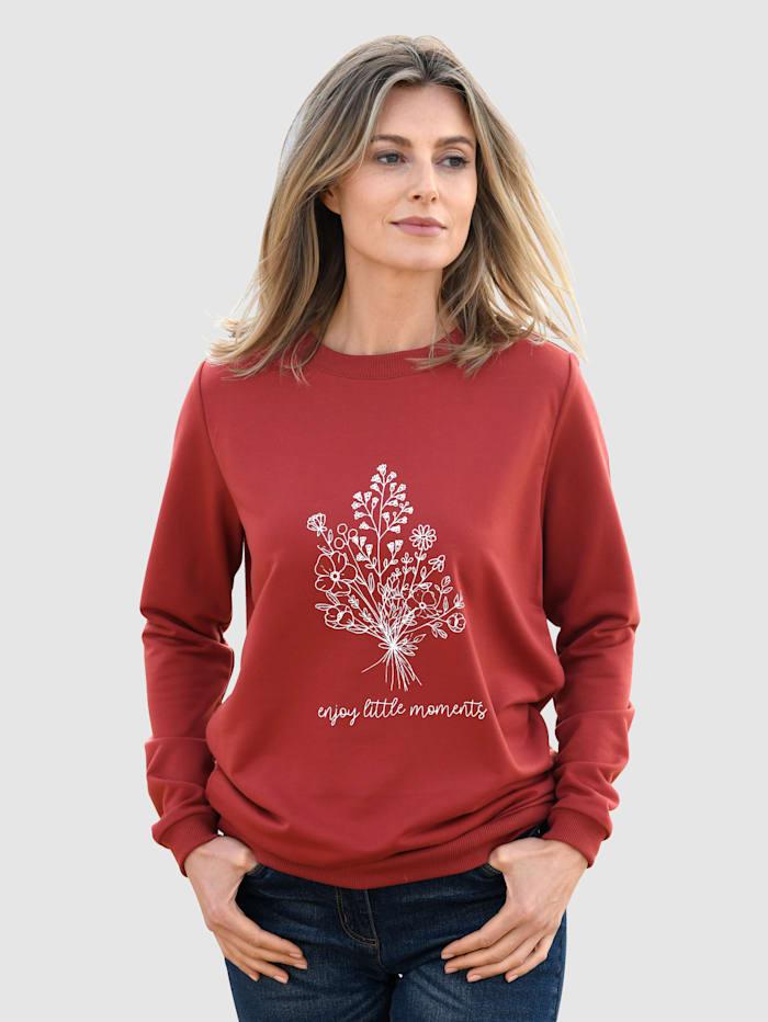 basically you Sweatshirt mit platziertem Blumendruck, Terracotta