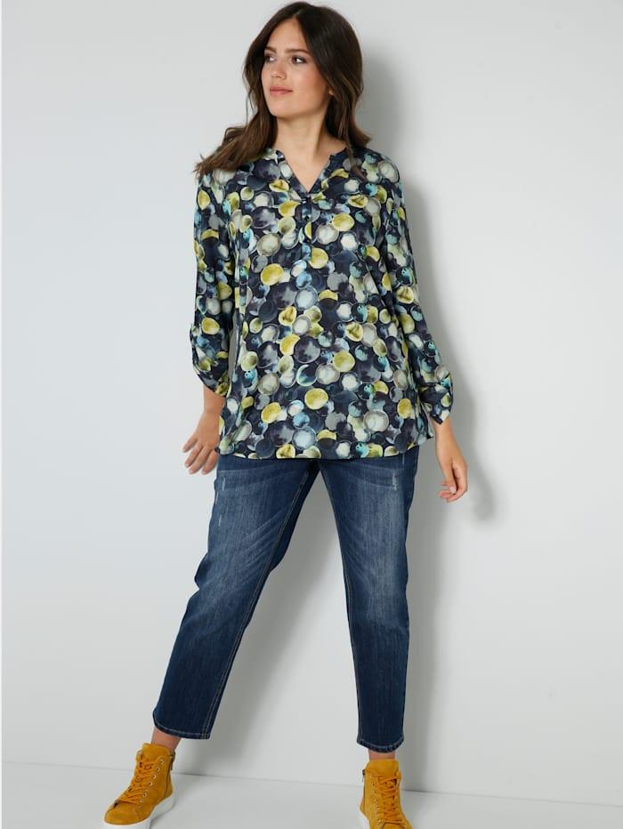 Tunika-Bluse mit farbbrilliantem Druck
