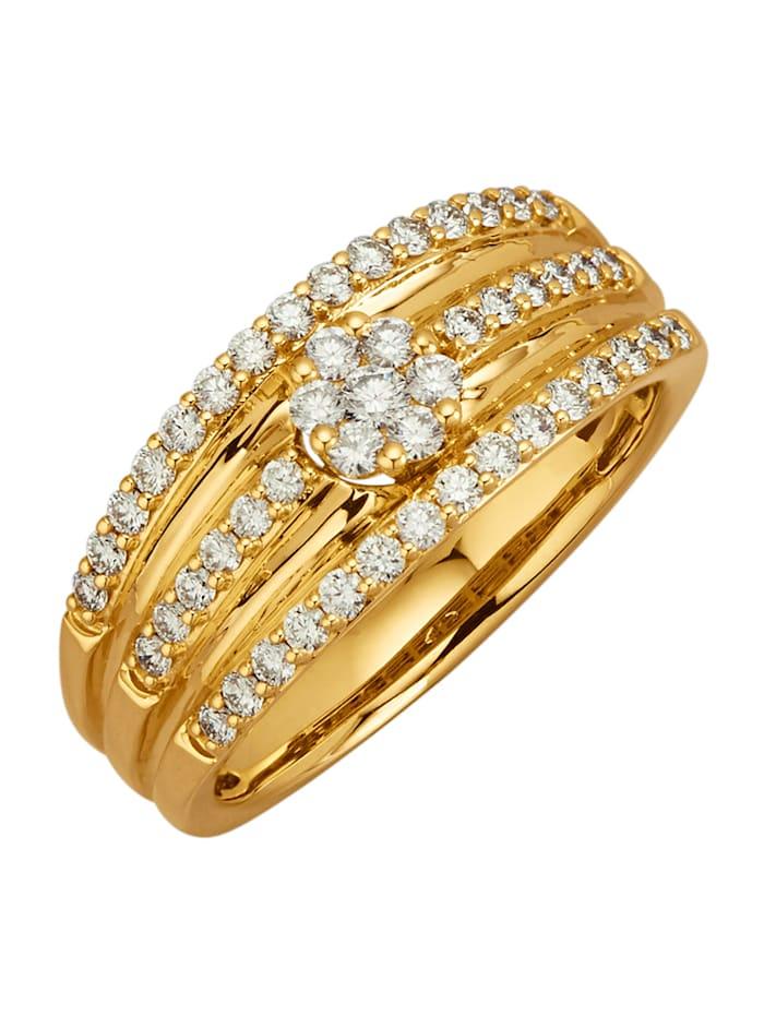 Diemer Diamant Damesring met 49 loepzuivere briljanten, Geelgoudkleur