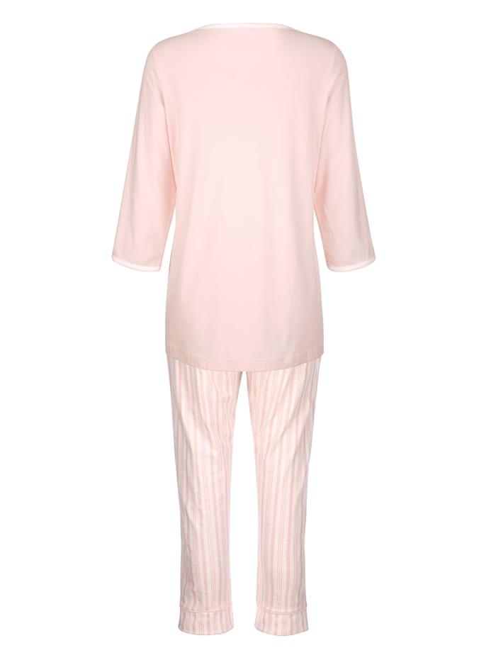 Pyjama met decoratieve contrastpaspels