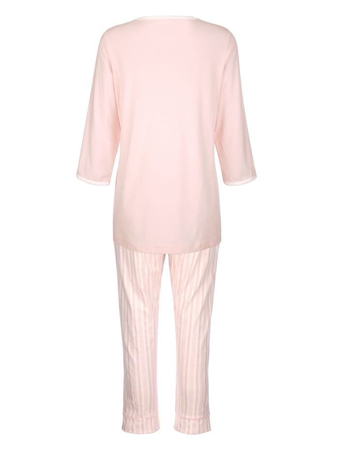 Schlafanzug mit dekorativer Kontrastpaspelierung