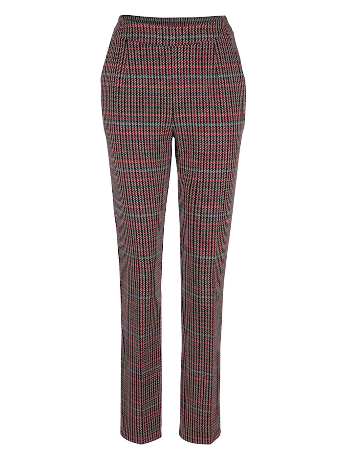 MONA Jerseyhose mit Hahnentritt-Muster, Rot/Schwarz