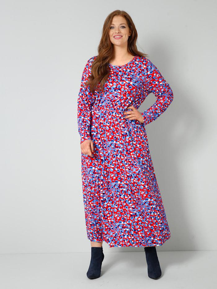 Sara Lindholm Jersey-Kleid mit Animal-Dessin, Rot/Blau/Off-white