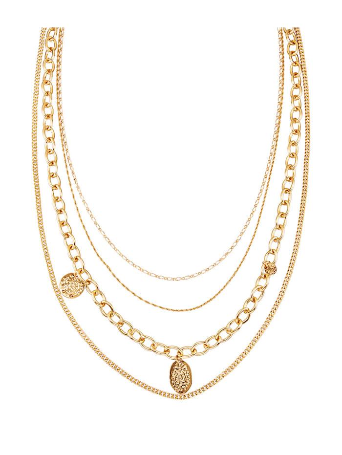 Halskette mit verschiedenen Mustern, Gelbgoldfarben