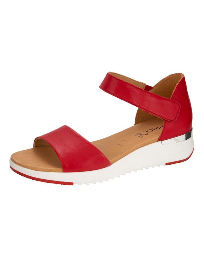 Caprice Sandale mit verstellbarem Fesselklettriegel, Rot