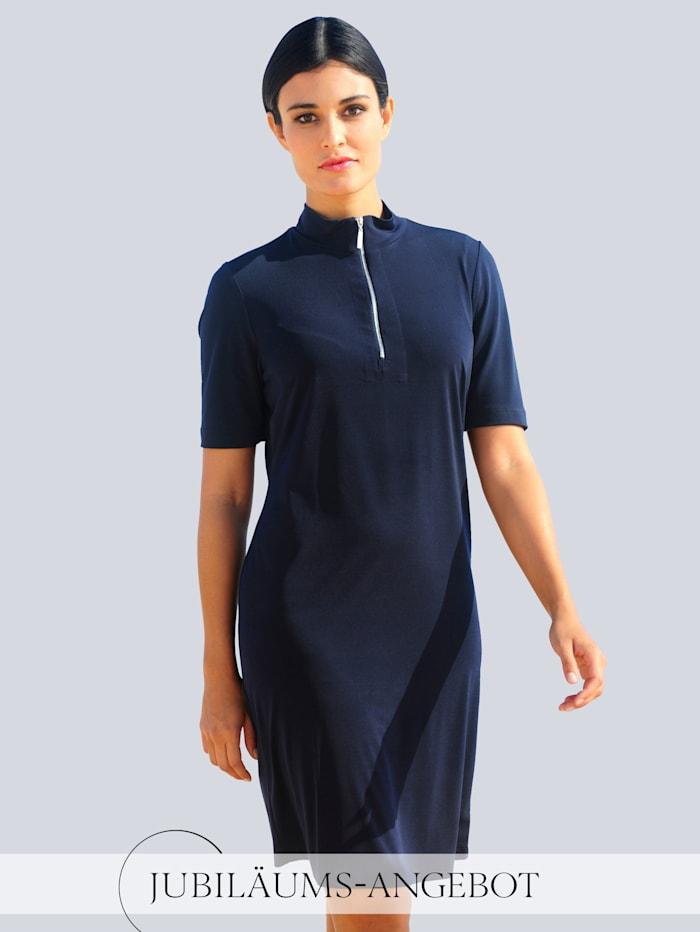 Alba Moda Jerseykleid mit Reißverschluss, Marineblau