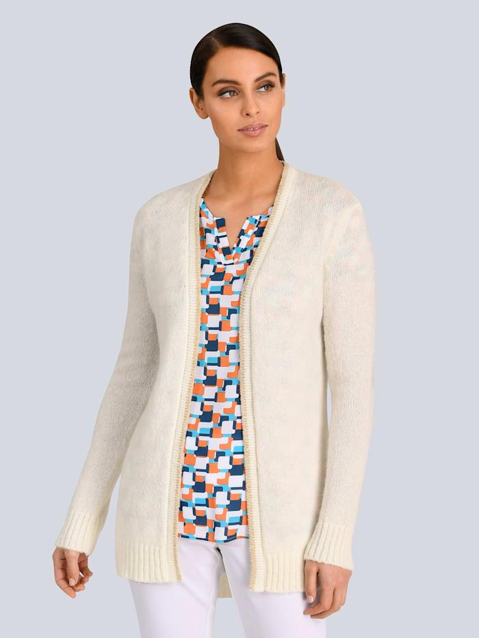 Alba Moda Strickjacke mit feiner Glanzgarnkante, Weiß