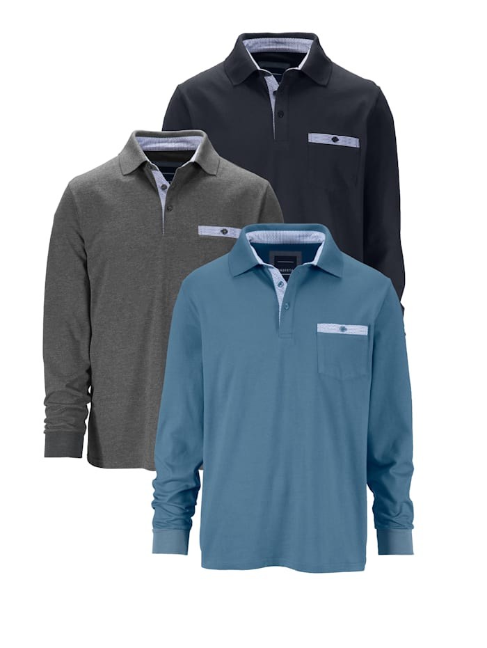 BABISTA Poloshirt 3 stuks, Marine/Grijs/Lichtblauw