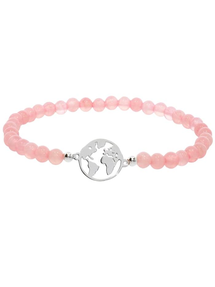 1001 Diamonds Weltkugel Rosenquarz Armband 925 Silber 17 cm, rosa