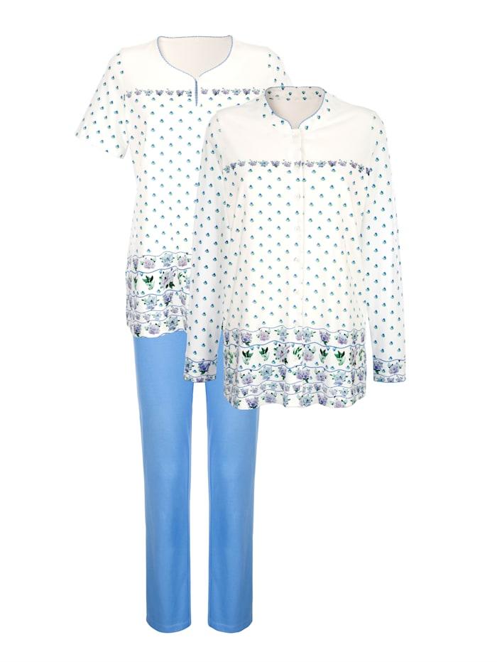 Harmony 3-delige pyjama met bloemenprint, Ecru/Lichtblauw