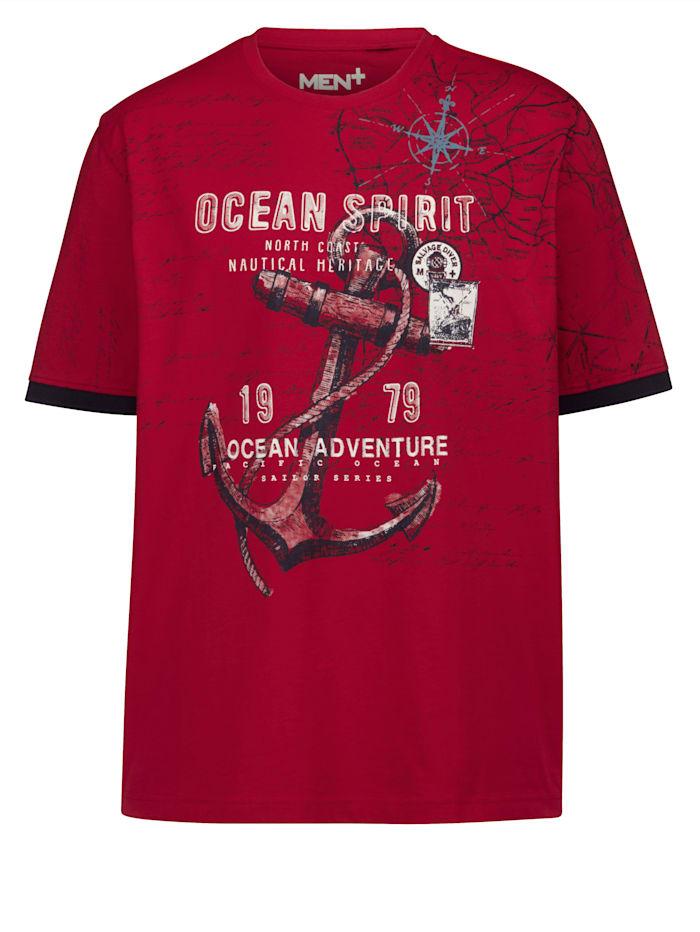 Men Plus Tričko z čistej bavlny, Červená/Námornícka/Biela
