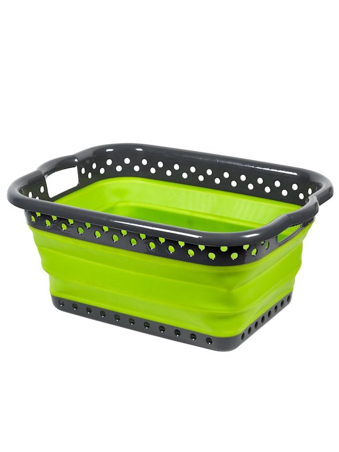 Faltbarer Platzspar-Wäschekorb 'Trend', Grün/Grau