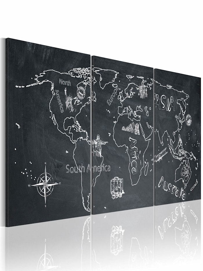 artgeist Wandbild Globetrotter, Weiß,Grau
