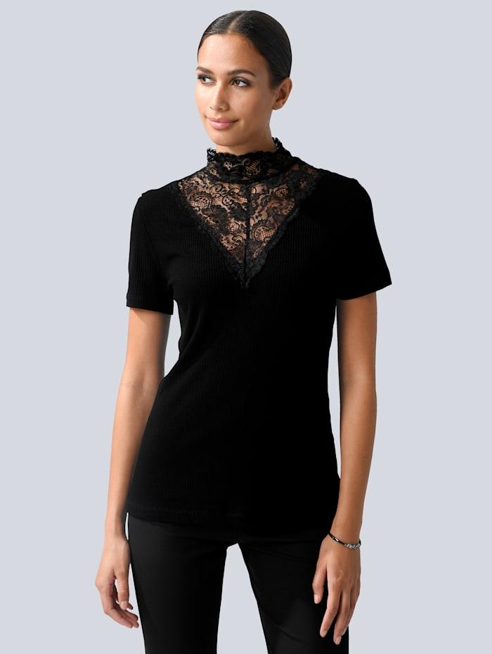 Alba Moda Tričko s peknou čipkou, Čierna