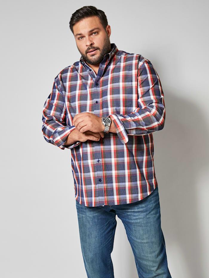Men Plus Hemd mit modischem Mustermix, Marineblau/Rot/Weiß