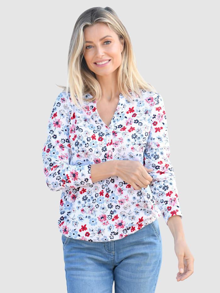 basically you Shirt mit floralem Druck, Weiß
