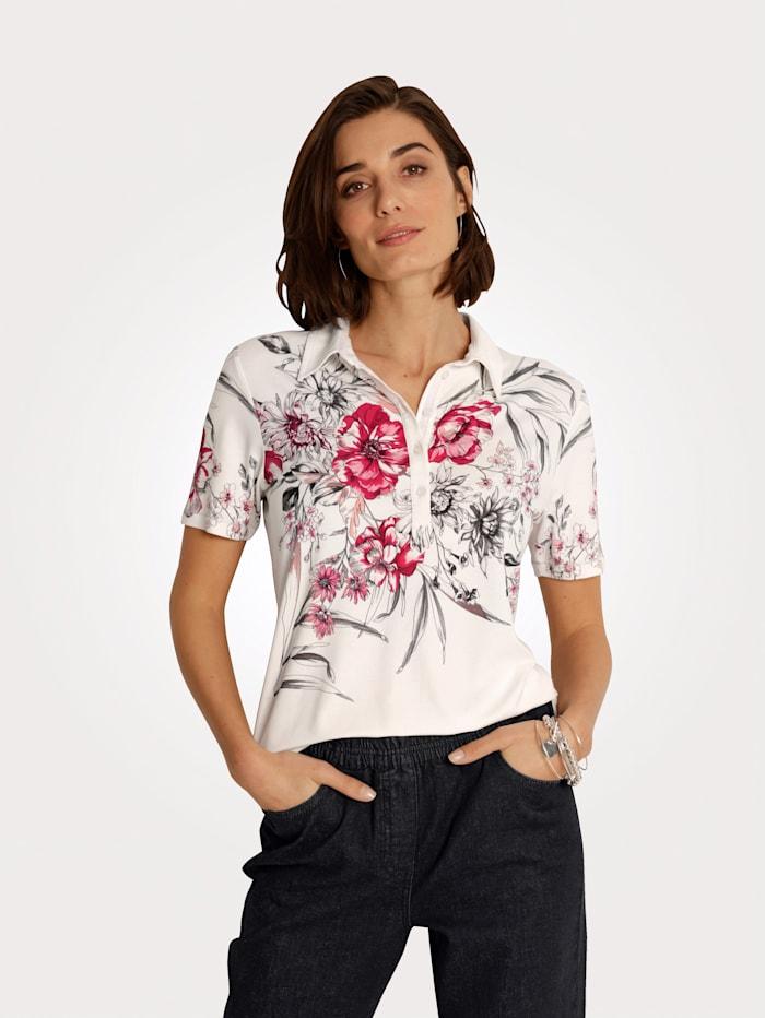 MONA Polo shirt with a floral print, Ecru/Fuchsia/Black