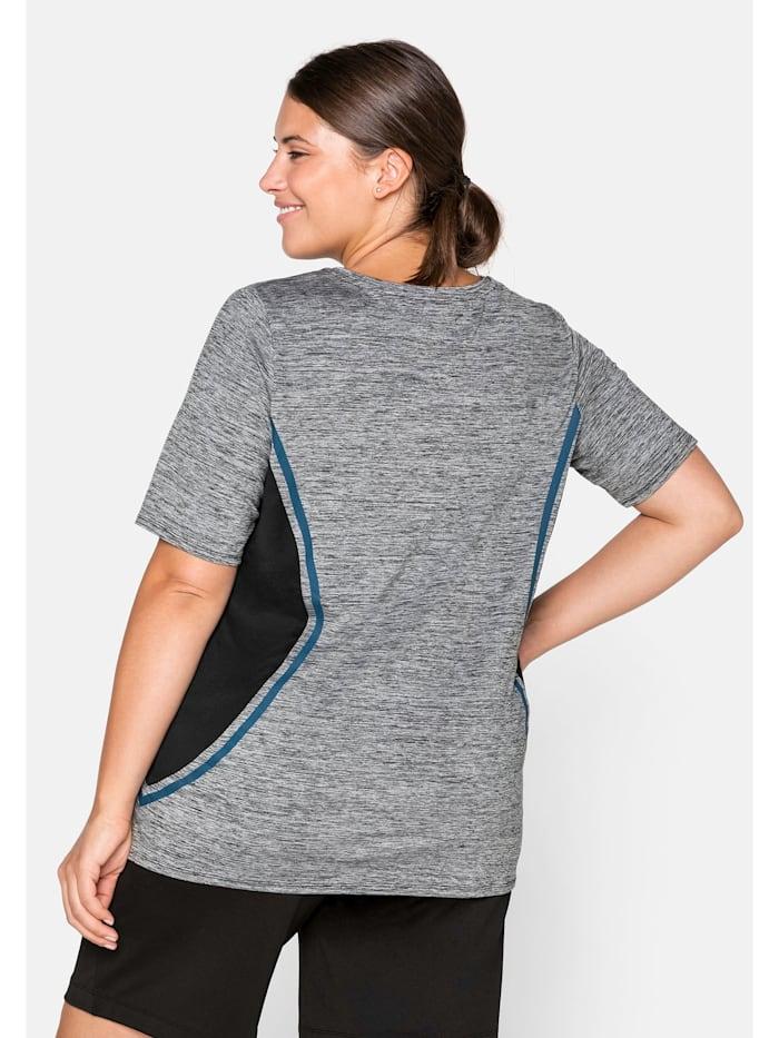 Sheego T-Shirt mit seitlichen Kontrasteinsätzen