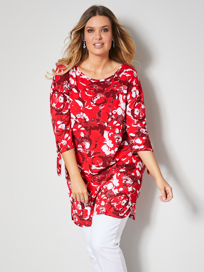 Janet & Joyce Shirt mit grafischem Druck, Rot/Weiß