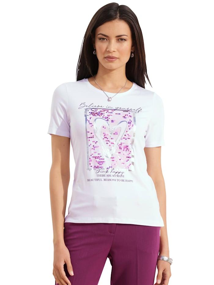 AMY VERMONT Shirt mit Pailletten-Verzierung, Weiß