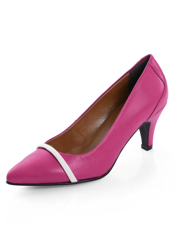 Alba Moda Pumps mit dekorativem, schmalem Riemchen auf der Schuhspitze, Pink/Weiß