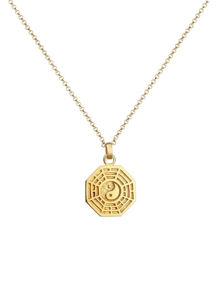 Halskette Bagua Symbol Münze Vintage 925 Silber Vergoldet