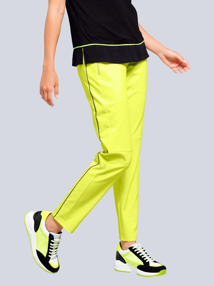 Alba Moda Hose im Jogpants-Style, Neongrün/Schwarz