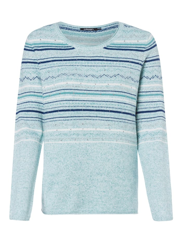 Olsen Rundhalspullover in ethno-inspiriertem Design, Winter Mint Mel.