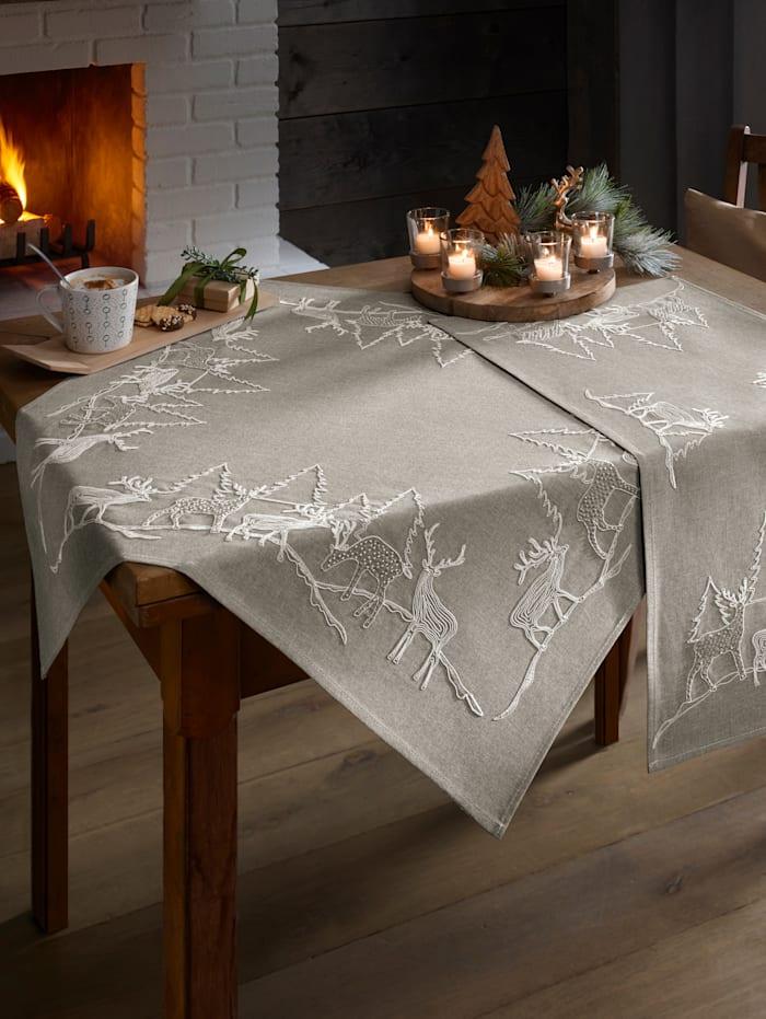 Webschatz Textilserie med renmotiv, grå/flerfärgad