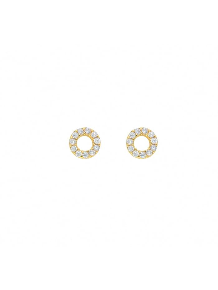 1001 Diamonds Damen Goldschmuck 333 Gold Ohrringe / Ohrstecker mit Zirkonia Ø 6,2 mm, gold