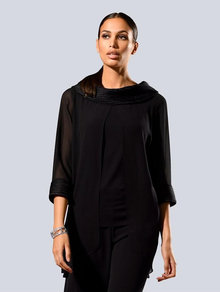 Alba Moda Bluse mit breitem Kragen, Schwarz