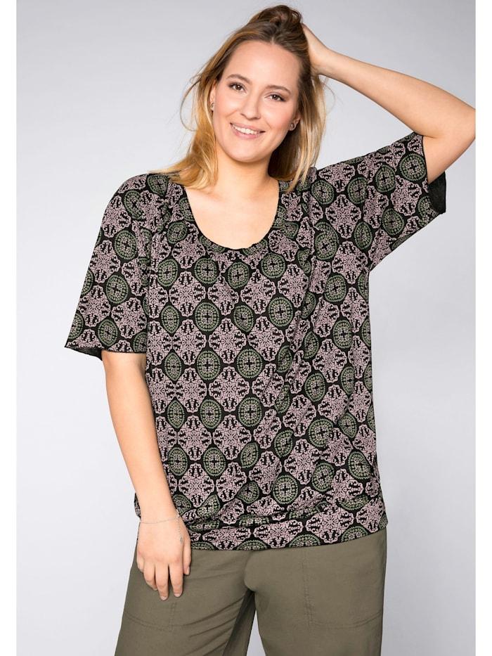 Sheego Shirt mit verlängerten Ärmeln