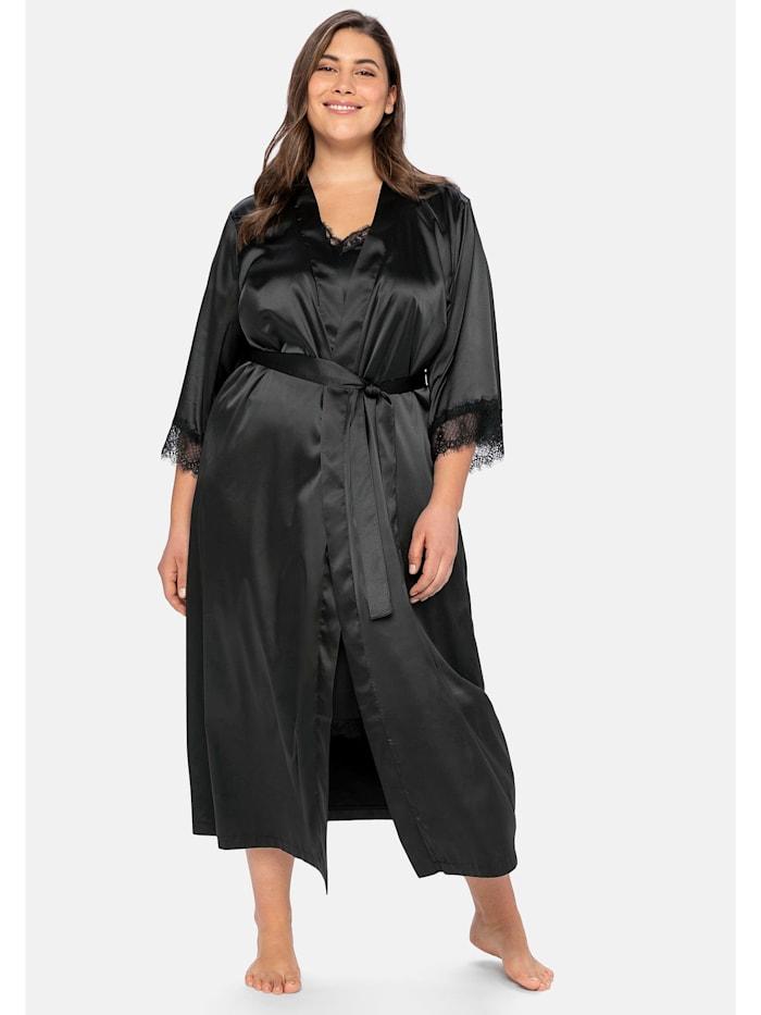 Sheego Morgenmantel aus Satin, im Kimono-Stil, mit Spitze, schwarz