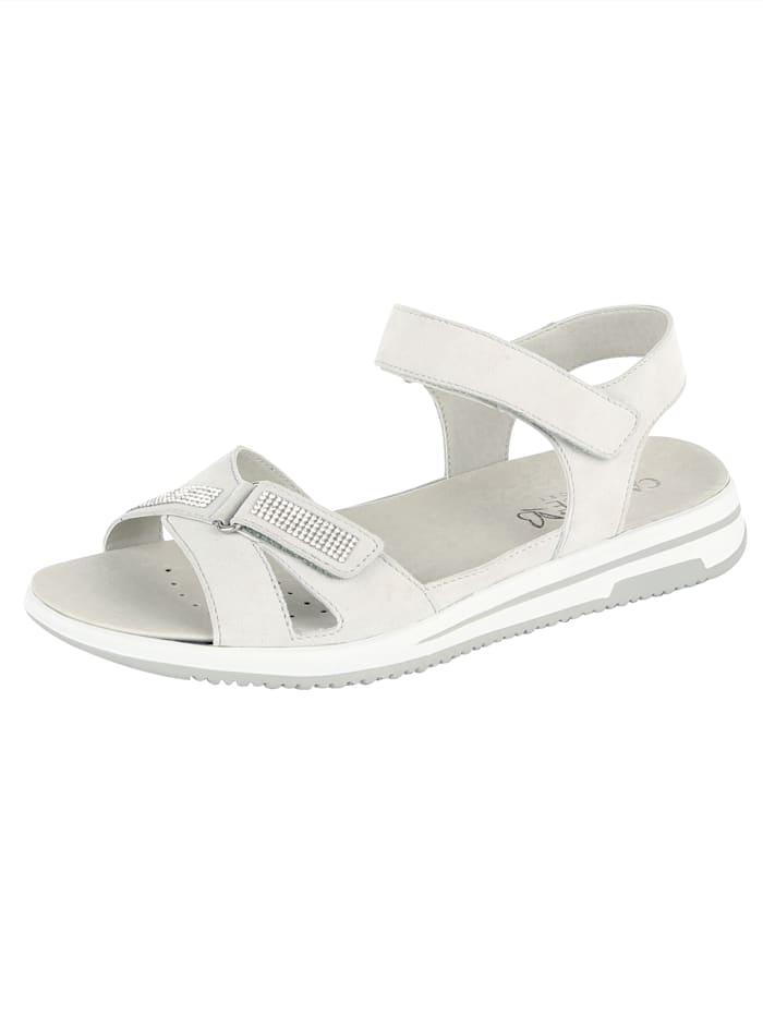 Sandále s lesklými pásmi