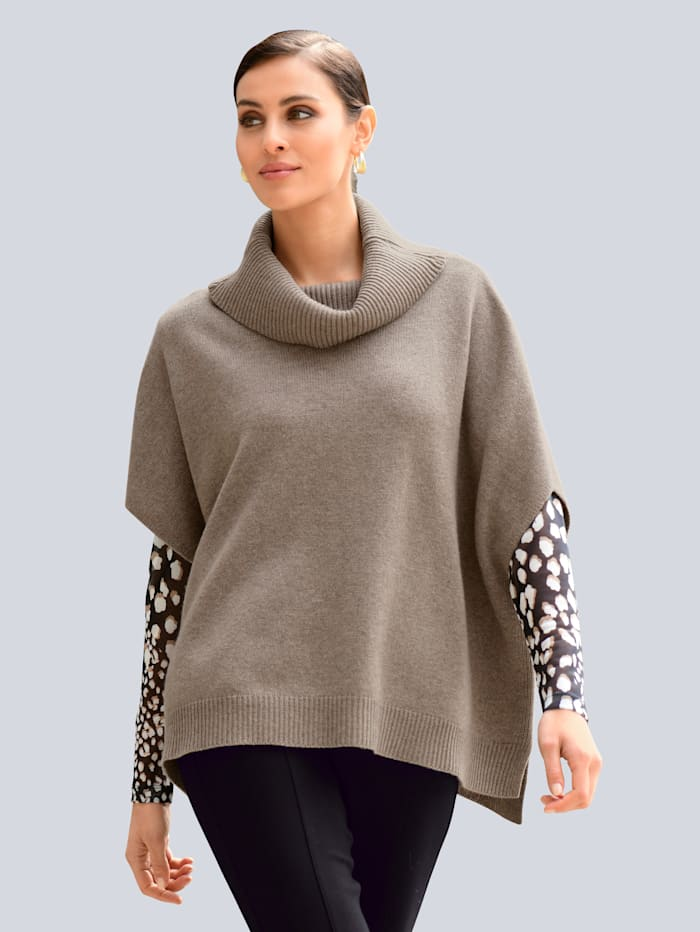 Alba Moda Pullover mit voluminsösem Rollkragen, Taupe