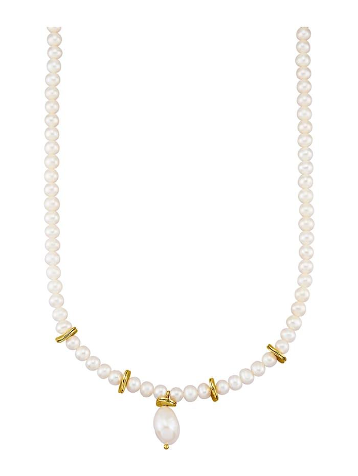 Halsband med odlad sötvattenspärla och keshipärla, Vit