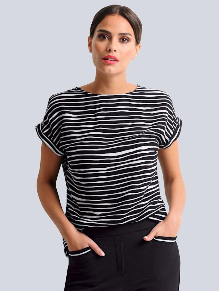 Alba Moda Blúzka s grafickou potlačou, Čierna/Vlnená biela