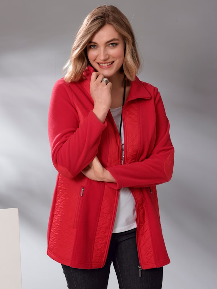 m. collection Fleecejacke im Materialmix, Rot