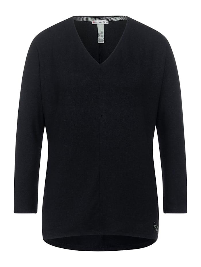 Street One Shirt mit V-Ausschnitt, dark shaded grey