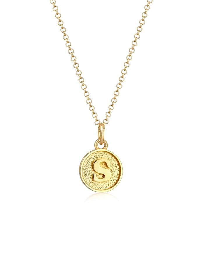 Elli Halskette Buchstabe S Initialen Vintage Plättchen 925 Silber, Gold