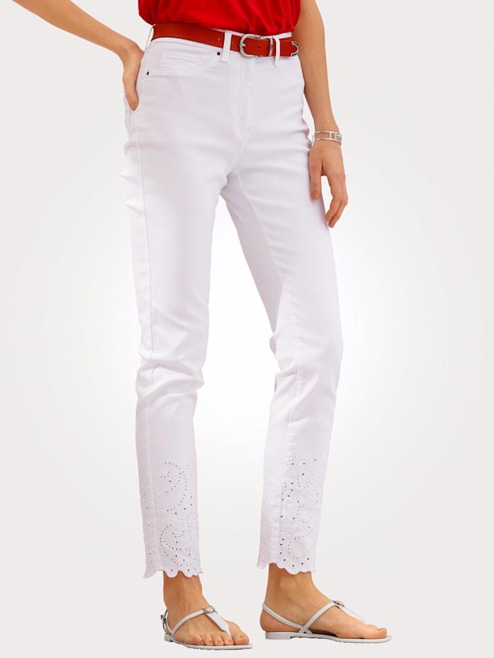 MONA 7/8-Jeans mit Madeirastickerei, Weiß