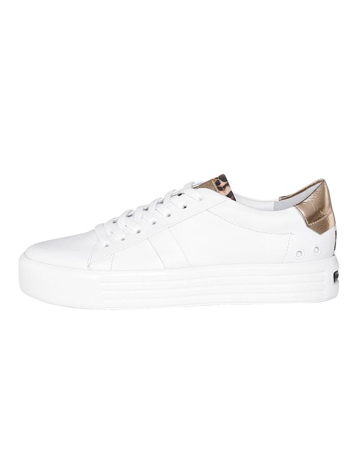 Sneakers à plateau avec cuir velours de chevreau