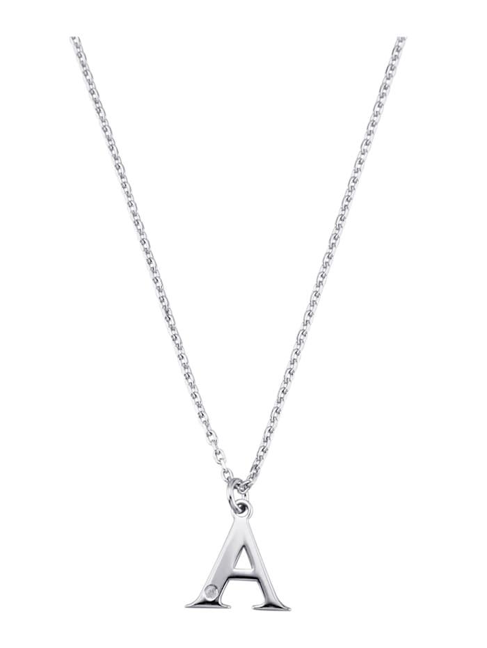 Collier Letter A met diamant, Zilverkleur