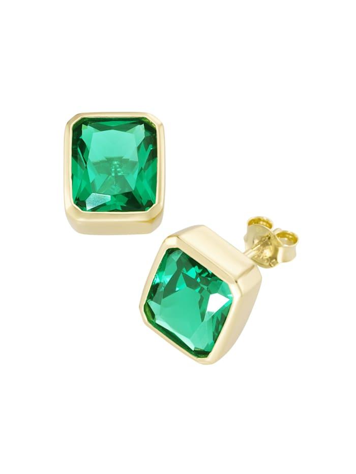 Giorgio Martello Ohrstecker mit grünen Kristallsteinen Silber 925, Grün