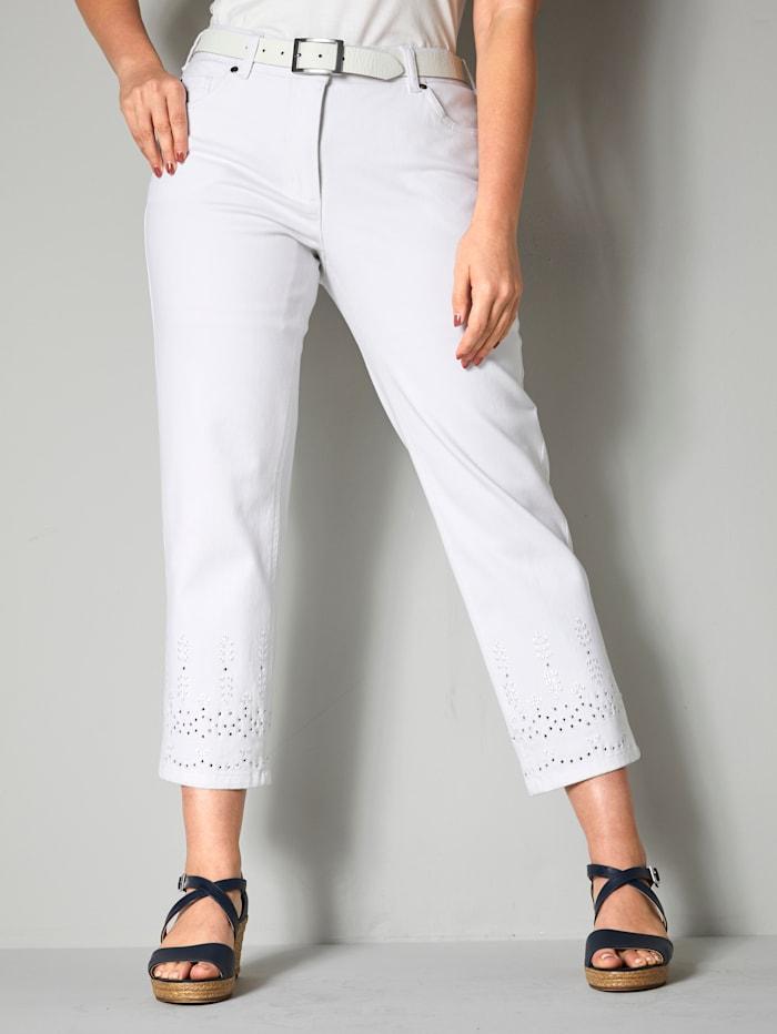 Sara Lindholm Jeans mit Lochstickerei, Weiß