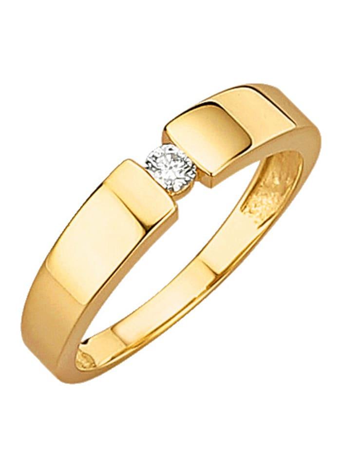 Diemer Diamant Damenring mit lupenreinem Brillant, Gelb