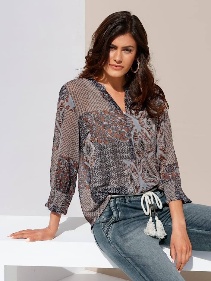 Bluse mit Patch-Muster