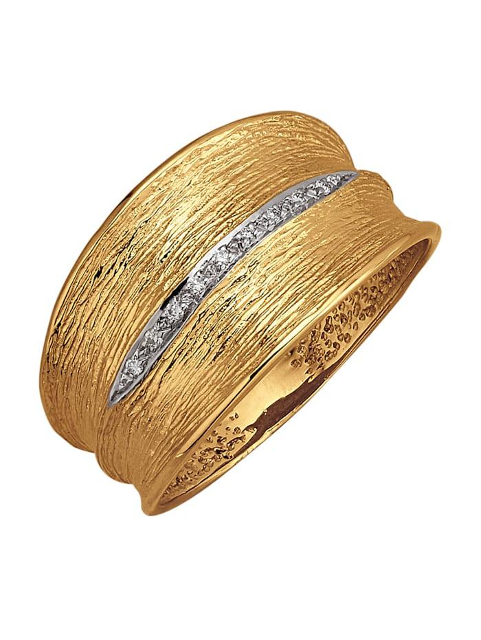Amara Diamant Damenring in Gelbgold 585, Weiß